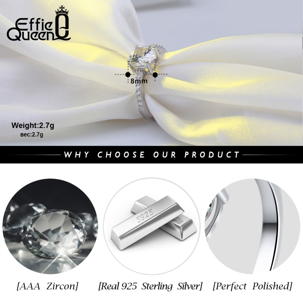 Effie Queen Real 925 Sterling Silver Wedding Rings for Women AAA Shiny Cubic Zircon Luxury Engagement Ring Party Jewelry BR56 in Rings from Jewelry Accessories