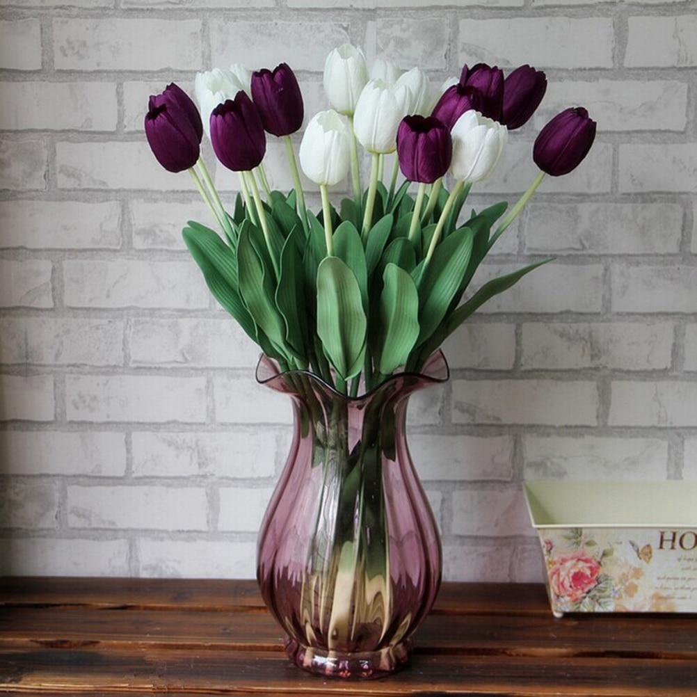 10pcs Artificial Tulip Flowers Wedding Decoration Pu Leather Tulip