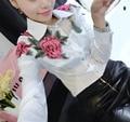 2016 Весна Лето женская Сладкий Тонкий Цветочная Вышивка С Длинным рукавом Черный Белый Топы Формальных Блузка