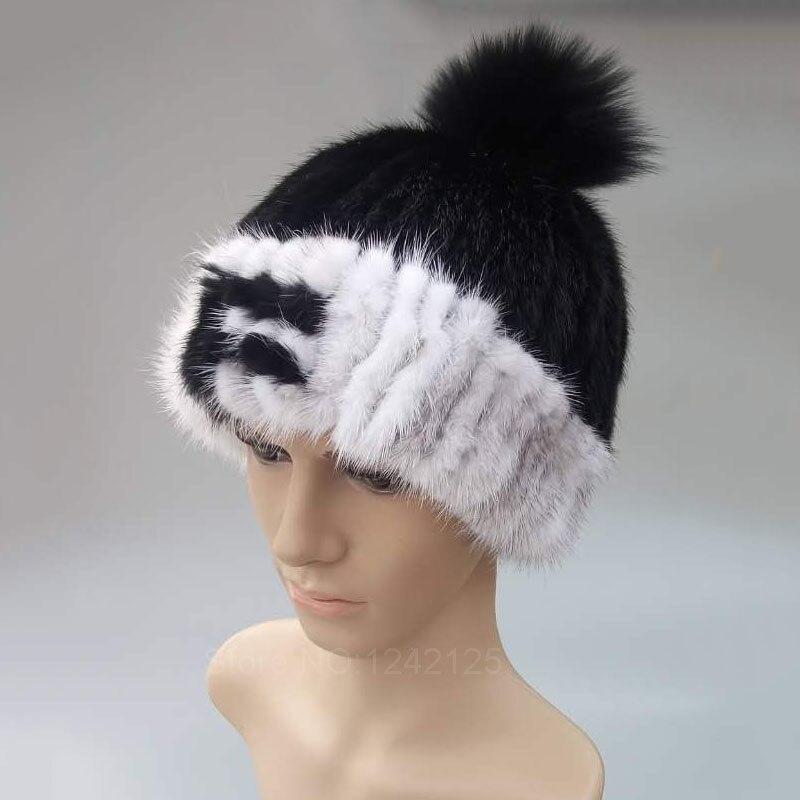 Nouveau hiver chaud hommes enfants enfants garçon tricoté lettre vison fourrure chapeau rayé mots avec boule de renard réel vison fourrure armure chapeaux cap chaud