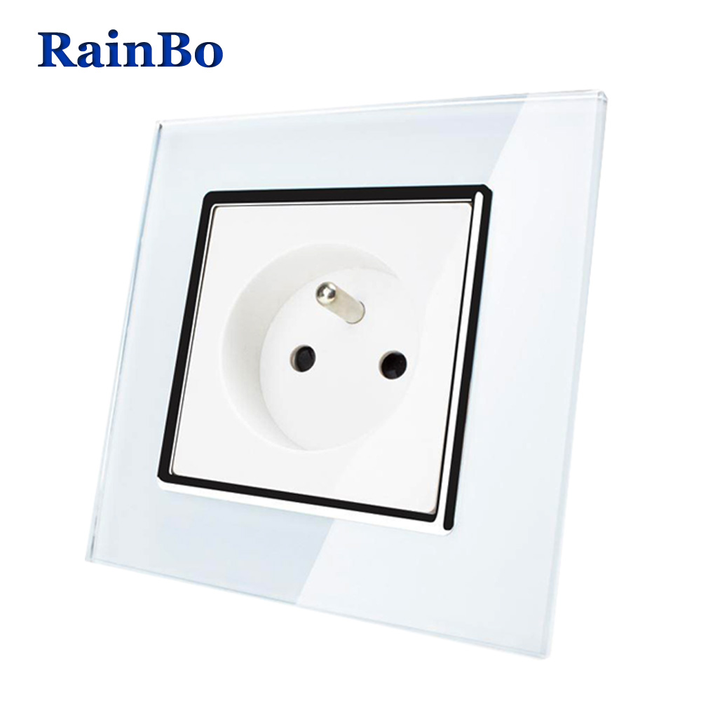 RainBo Brand Free Shipping Wall Power Socket New Outlet France Standard  Crystal Glass Panel AC110~250V 16A Wall Socket A18FW/B atlantic brand double tel socket luxury wall telephone outlet acrylic crystal mirror panel electrical jack