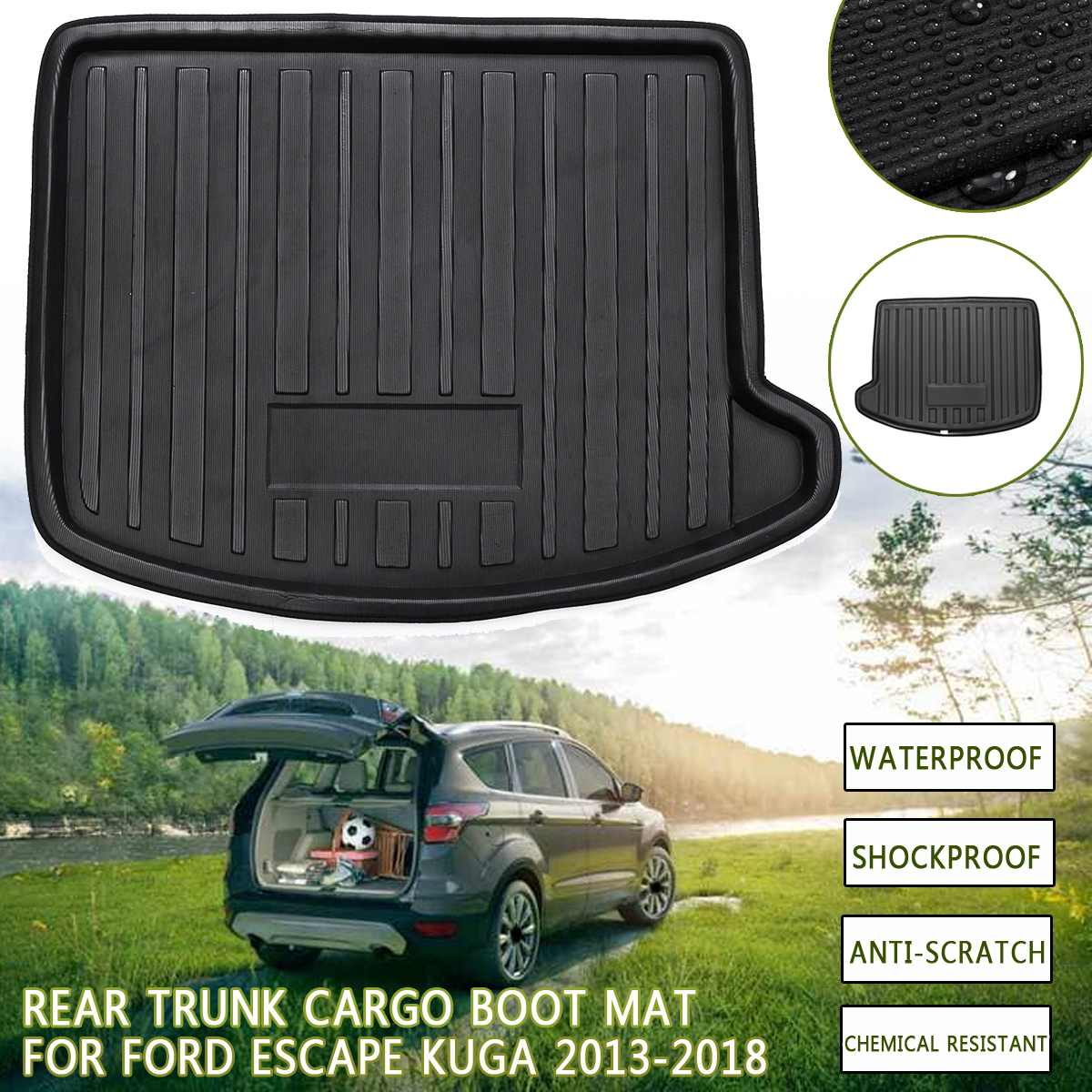 1 Pcs PE Rear Trunk For Ford Escape Kuga 2013 2014 2015 2016 2017 2018 Cargo Liner Floor Tray Carpet Boot Mat Mud Kick Overlay