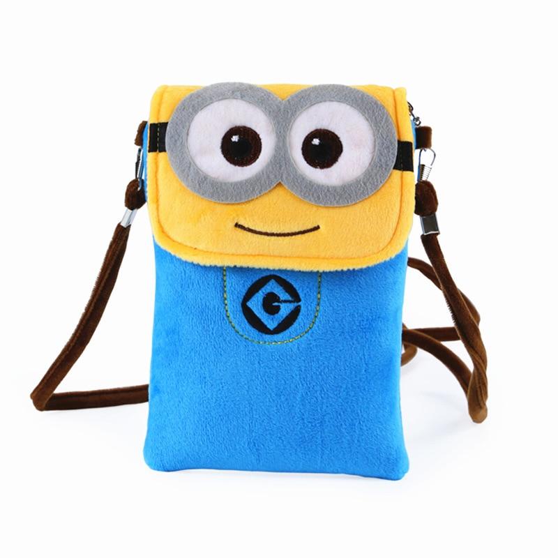 Fashion Cartoon Print Cute Minions Flap Handbags For Children Kids Shoulder Crossbody Bags Boys & Girls Phone Pouches Bolso