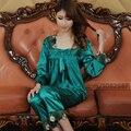 Primavera Verano Otoño Mujeres Chinas de Satén de Seda Pijamas de Sleepcoat y Pantalones Señora Chica Camisón de la Ropa Interior Atractiva de Calidad Superior
