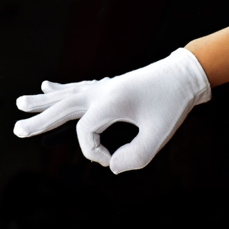 2 Pcs/lot White 100% Cotton Ceremonial Gloves For Male Female Serving / Waiters/drivers/Jewelry/ Labor Work/mechanism Gloves