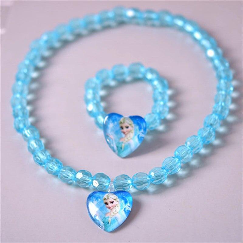 2pcs/lot 2018 Children's Doll Accessories Cartoon New Jewelry Frozen Necklace Aisha Queen Anna Bracelet Set
