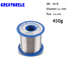 цена на Solder Wire 63/37 Tin 0.5mm 450g Pure Tin Rosin Core Tin Lead Rosin Roll Flux Reel Lead Melt Core Soldering Tin Arame de solda