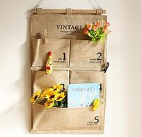 5 Pockets Vintage Linen Closet Hanging Storage Organizer Bags Door Rack Wall Holder Decoration Cosmetic Sundries