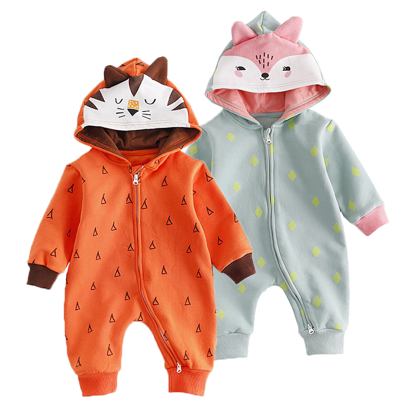 Autumn Winter Animals Hooded Romper Tiger Fox Shaped Baby Clothing Infant Boys Girls Clothes Zipper One-Piece Baby Boy Rompers puseky 2017 infant romper baby boys girls jumpsuit newborn bebe clothing hooded toddler baby clothes cute panda romper costumes