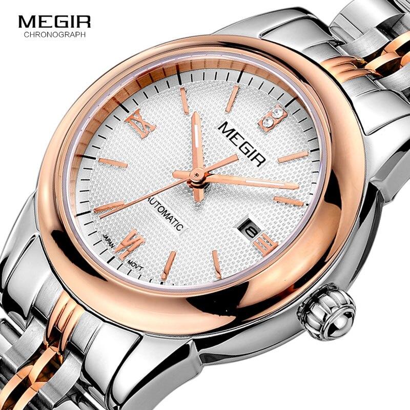 Reloj de pulsera MEGIR para mujer mecánico esqueleto reloj de pulsera 2019 moda Acero inoxidable Casual elegante mujer regalo RS62002LWhite-Rose