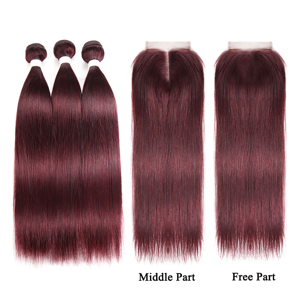99J/Burgundy Red Hair Bundles With Closure Brazilian Non-Remy Hair Weave Extension 3 PCS Human Hair Bundles With Closure SOKU