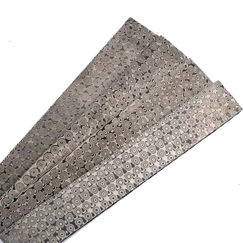 Rose pattern China Damascus steel Pattern steel Knife blade blank Heat Treatment HRC57 220*30*3mm