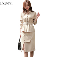 2017 Autumn Winter Korean Women Suits Office Sets Elegant OL Ladies Shirt Skirt Suits Slim Double