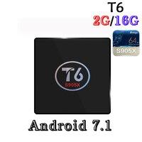 ร้อนขายAmlogic S905x T6 Android 7.1กล่องทีวีสมาร์ท2กิกะไบต์Ram 16กิกะไบต์รอมQuad Core Cortex A53 4พัน2.4กิกะ