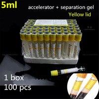 Laboratory centrifuge 100pcs 5ml pet plastic PRP tube Vacuum pipe Cosmetology Separating glue coagulant coagulation accelerator