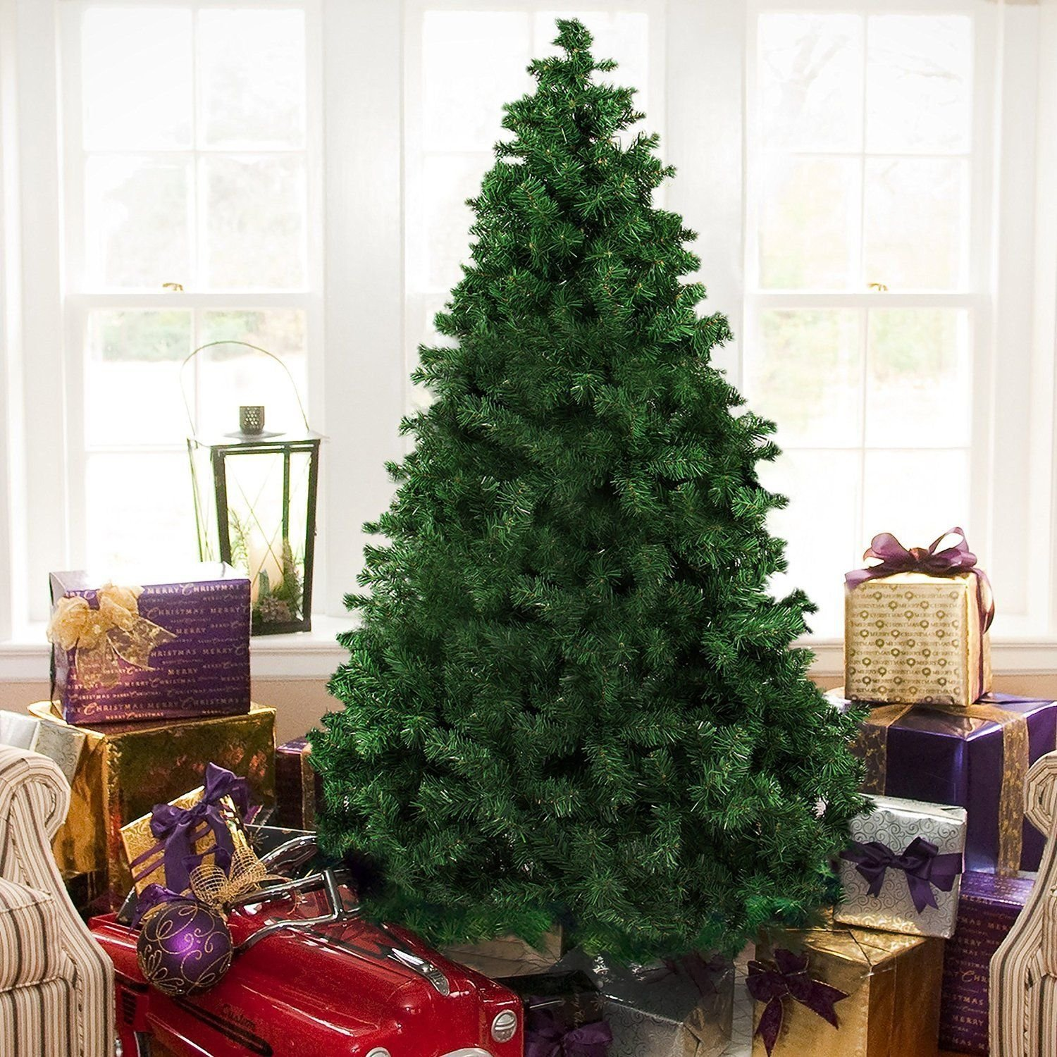 FANLUS Premium Hinged Artificial Christmas Pine Tree With Solid Metal Legs 1000 Tips Ful ...