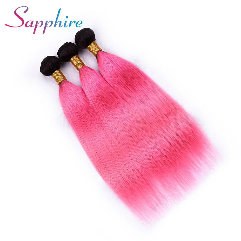 SAPPHIRE Pre-colored 3 Bundles Ombre Peruvian Straight Hair Bundles T1B Pink Color Remy Human Hair Weave Bundles Free Shipping