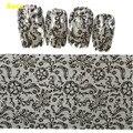Top Quality 1pc100cmx4cm Popular Black Lace Nail Art Foil Stickers flor Nail decalques dicas Manicure ferramenta LB09