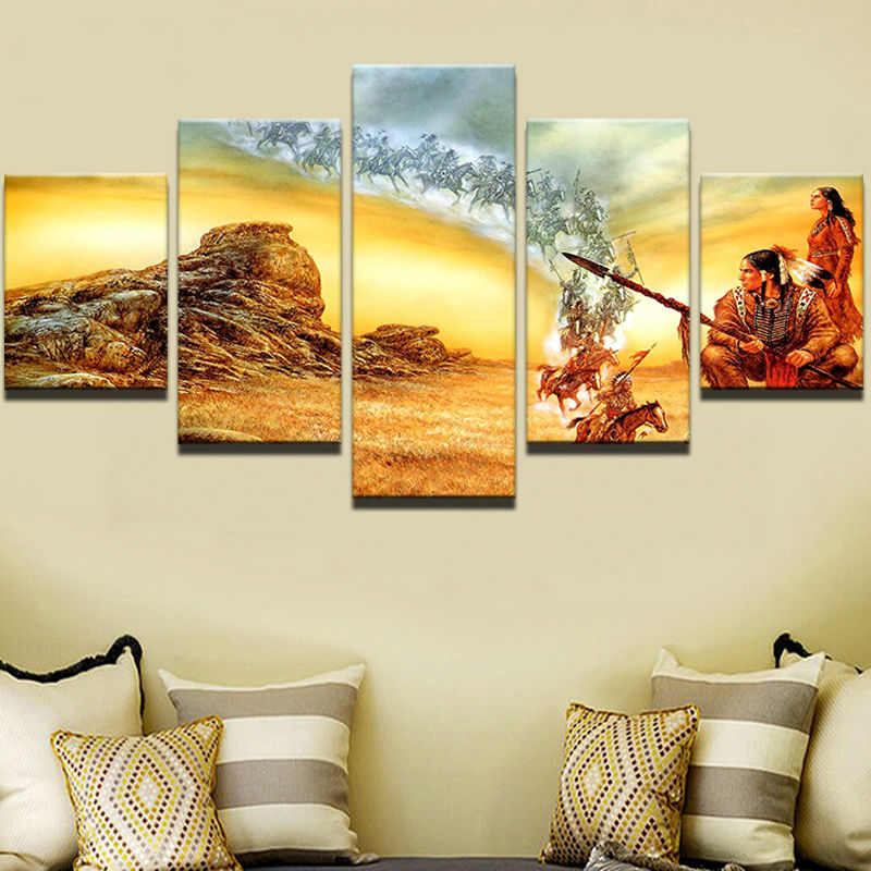 Poster Modern Canvas Painting Frame Art 5 Panel American Native ...