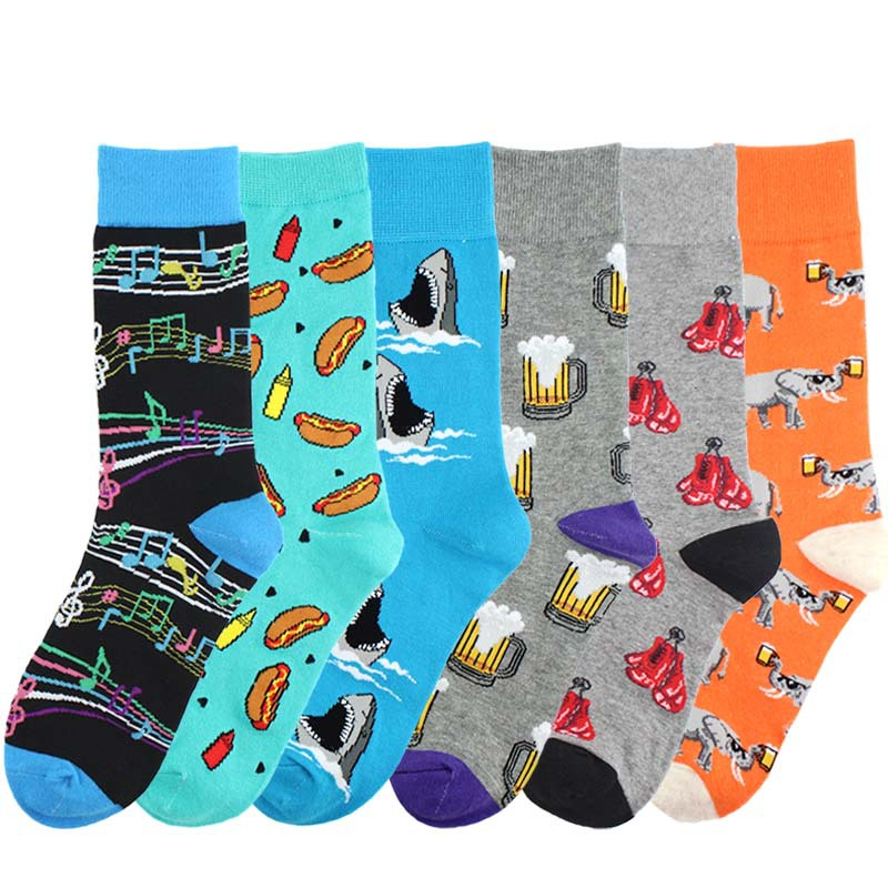 New men's Crew   Socks   Funny Cotton Harajuku Creative Beer Elephant Boxing Pattern Trend Fashion Men's   Socks   Christmas   Sock   Gift