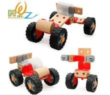 Free shipping kids wooden toys 3D assembling Building blocks, toys for children scale models Car, scale models wooden toys