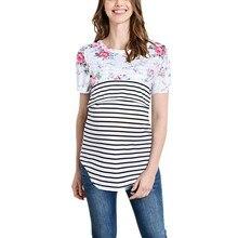 Comfortable Maternity T-shirt Pregnant Women Mom Pregnant Nursing Baby Short Sleeved Stripe Flower Top T-shirt Maternity Clothes