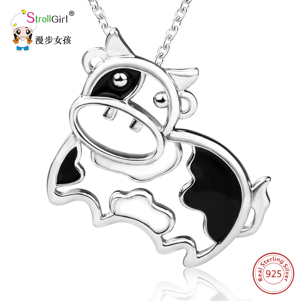 Soild Real 925 Sterling Silver Chain Pendant Necklace Fine Jewelry Running Cute Dairy Cow Necklaces & Pendants For Women Gifts