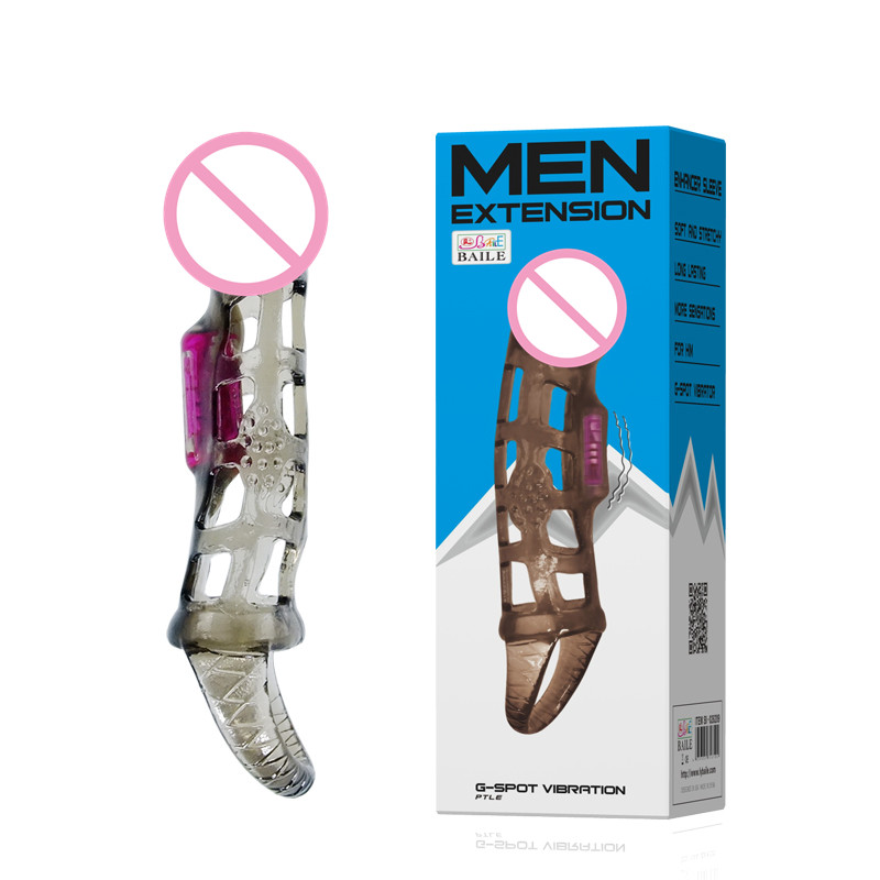 Buy new stretchable Strap Delay Penis Sleeves vibrator Realistic Dildo condoms Extension Cock Ring Sex Toys Men