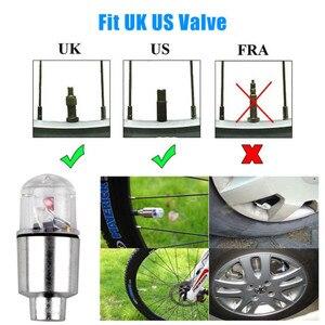 Image 4 - 4 개/몫 참신 LED 블루 다채로운 자전거 자동차 오토바이 휠 타이어 타이어 밸브 모자 네온 플래시 라이트 램프 자동 타이어 액세서리