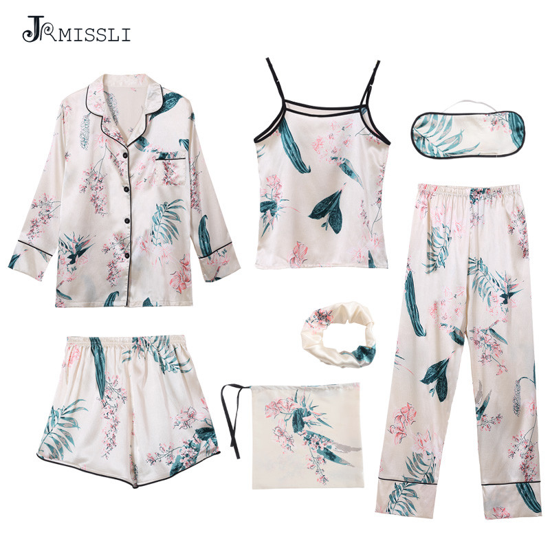JRMISSLI Women Pajamas 2018 Faux Silk Smooth 7 Piece Sets Spring Lady Pajamas Pants Home Suit Sleep Lounge Pijama