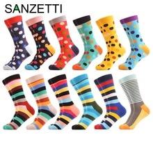 SANZETTI 12 pares / lote Divertido de los hombres patrón de rayas de punto colorido peinado calcetines de algodón vestido casual equipo calcetines felices regalos de boda