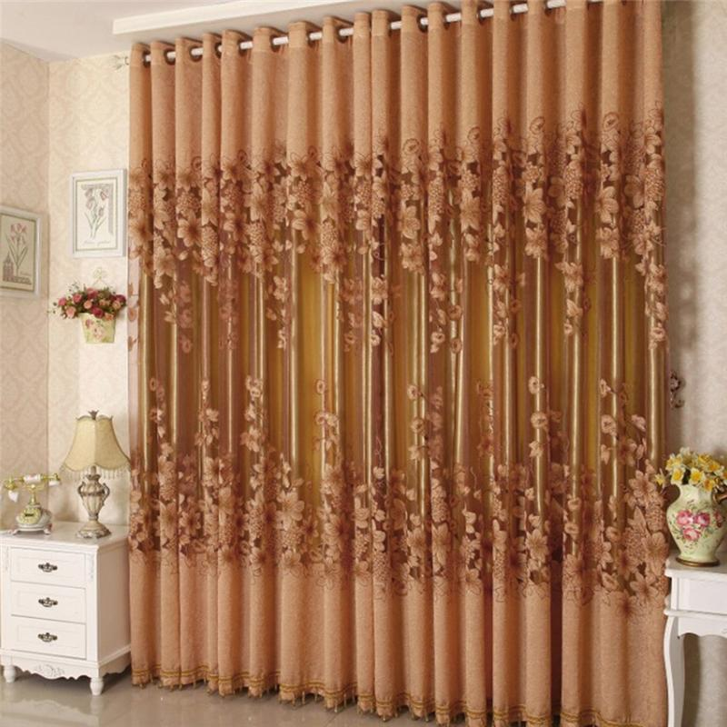 Vogue Floral Tulle Room Door Window Curtain Fabric Drape Panel Sheer Scarf Valances  Curtains For Living
