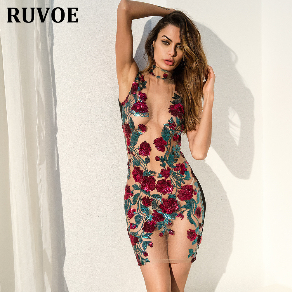 2018 New Arrival Floral Embroidery Sequin Mesh Mini Dresses Cocktail Party  Dress Women See Through O Neck Party Dress Vestidos-in Dresses from Women's  ...