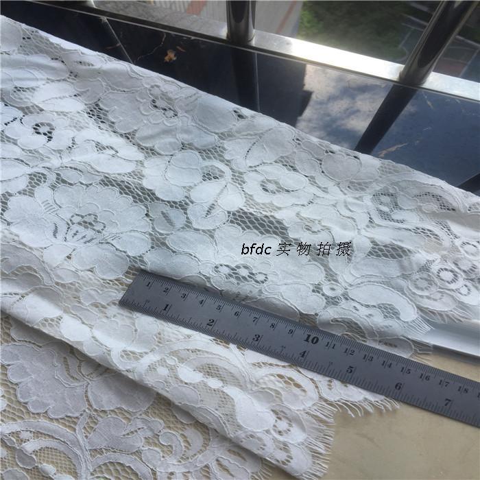 1 pièce/lot haut coton chantilly cordon cils dentelle tissu catwalk robe tissu robe de mariée accessoires blanc laiteux - 5