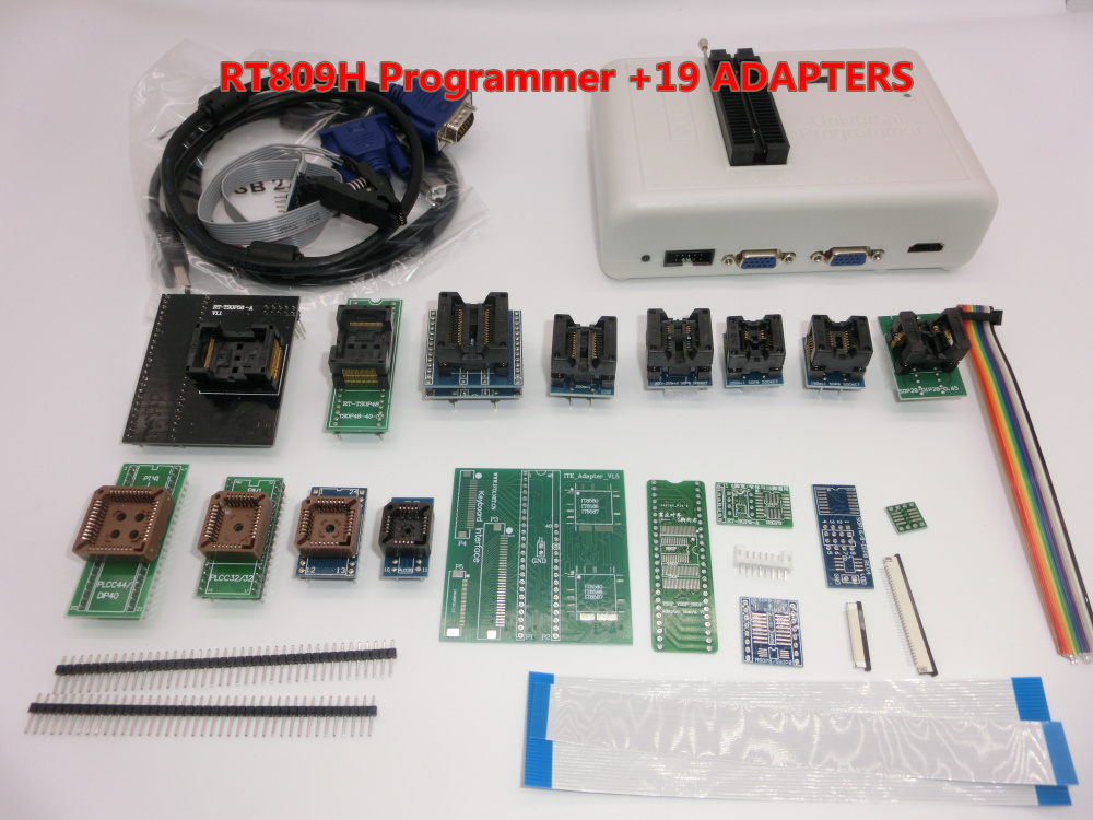 100% Original RT809H Universal Programmer EMMC Nand FLASH Programmer +19 ADAPTERS-in Integrated Circuits from Electronic Components & Supplies    1