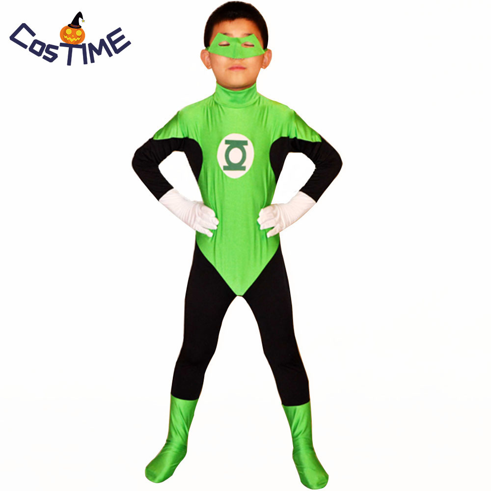 Kids Green Lantern Costume Masked Superhero Costumes Green Zentai Catsuit Lantern Cosplay Party Costume Fancy Dress Custom Size