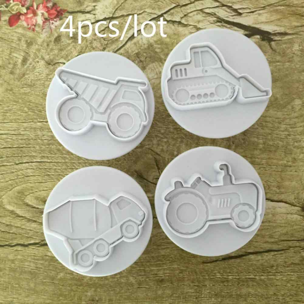 4Pcs/Set Vehicle Theme Trucks Cake Cookie Plastic Plunger Cutters Candy Molds !