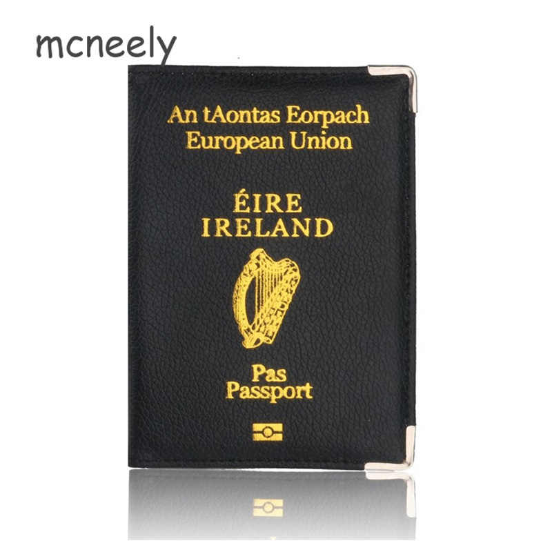Hot Koop Ierland Reizen Paspoorthouder Protector Case voor Ierland Lederen Paspoort Cover & Credit Kaarthouder Case
