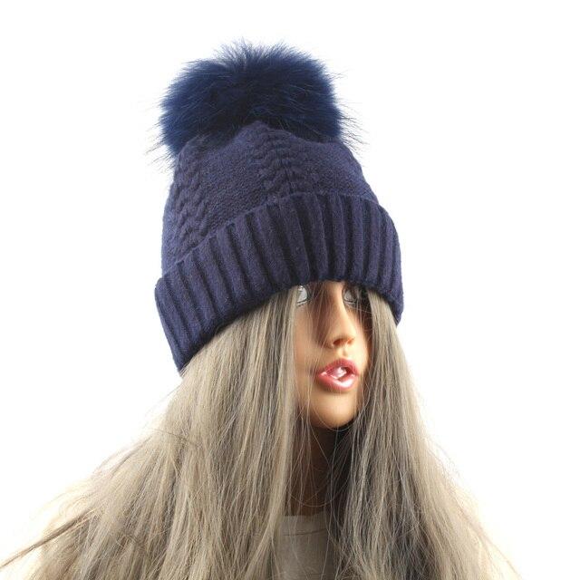 15cm Raccoon Fur Pom poms Mink Fur Hat Women Winter Beanie Hats Knitted Wool skullies cap