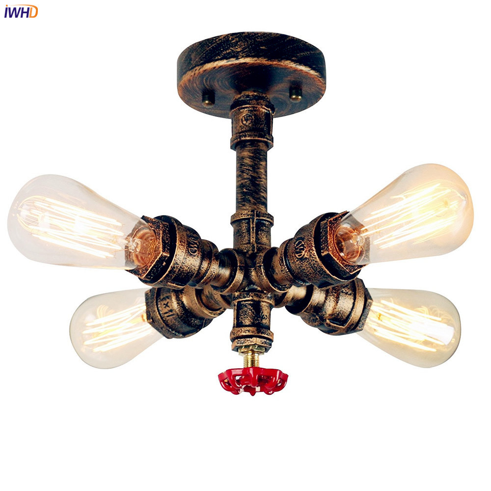 IWHD Water Pipe Vintage Ceiling Lights Fixtures Aisle Hallway LED Edison Retro Ceiling Light Lamp Home