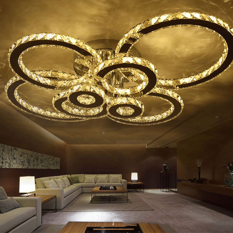 Crystal Ceiling Lamp Modern Ring LED Ceiling Light K9 Crystal Stainless Steel Circle Living Room Bedroom Lighting Fixtures