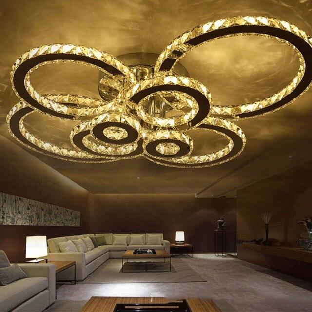 Kristall Deckenleuchte Moderne Ring Led Deckenleuchte K9 Kristall Edelstahl  Kreis Wohnzimmer Schlafzimmer Leuchten
