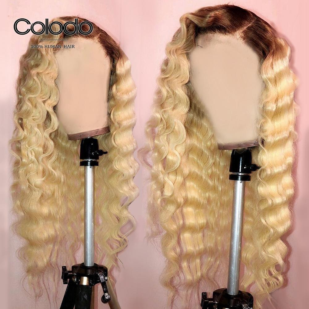 COLODO 13X4 Blonde Lace Front Deep Wave Wig Glueless Ombre Human Hair Wig With Baby Hair Remy Brazilian 613 Wigs For Black Women