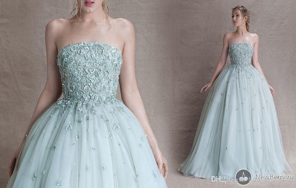 2018 Sebastian Prom party gown Strapless Appliques Tulle vestido de noiva robe de soiree Off The Shoulder bridesmaid dresses