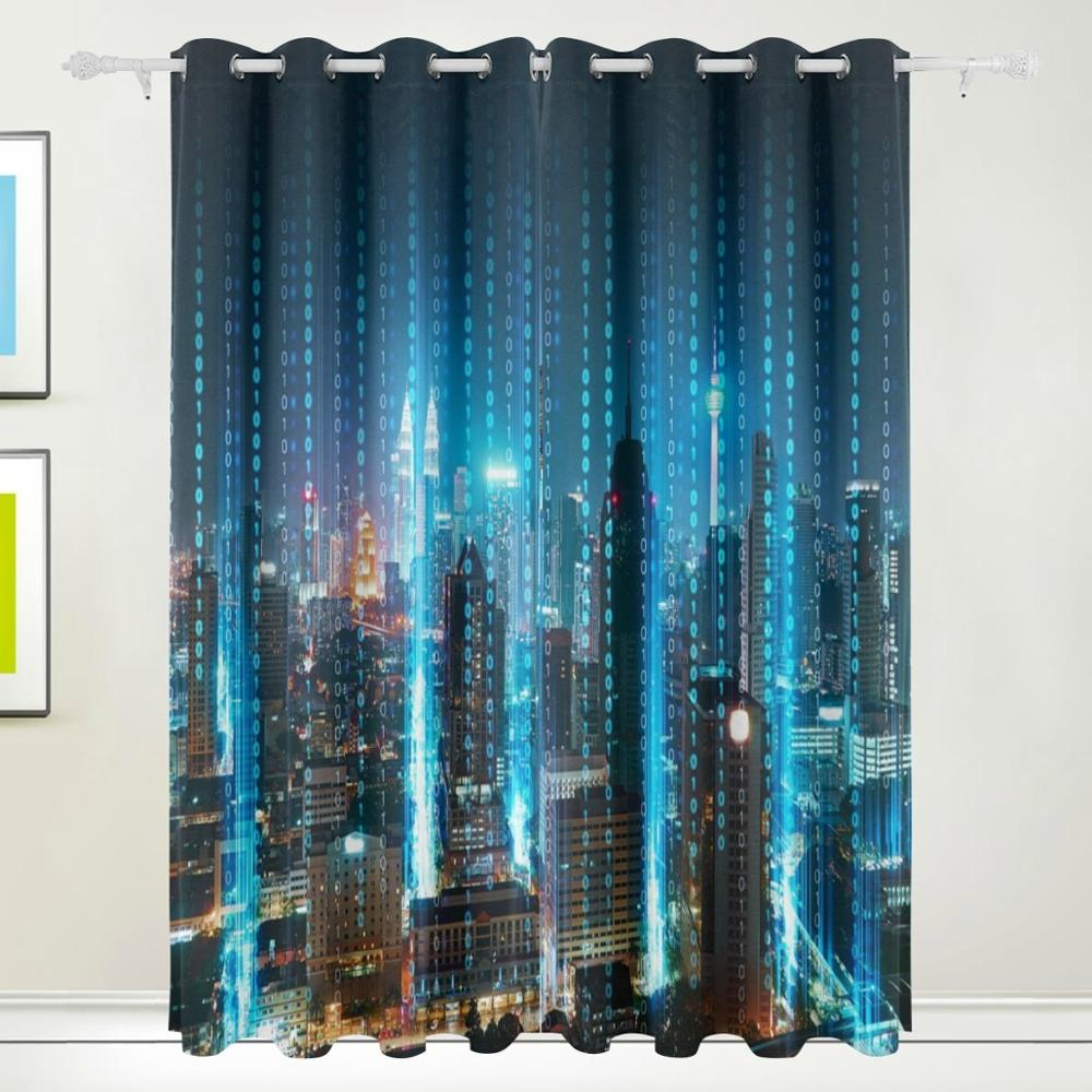Abstract 3D Modern City Curtains Drapes Panels Darkening Blackout Grommet Room Divider For Patio