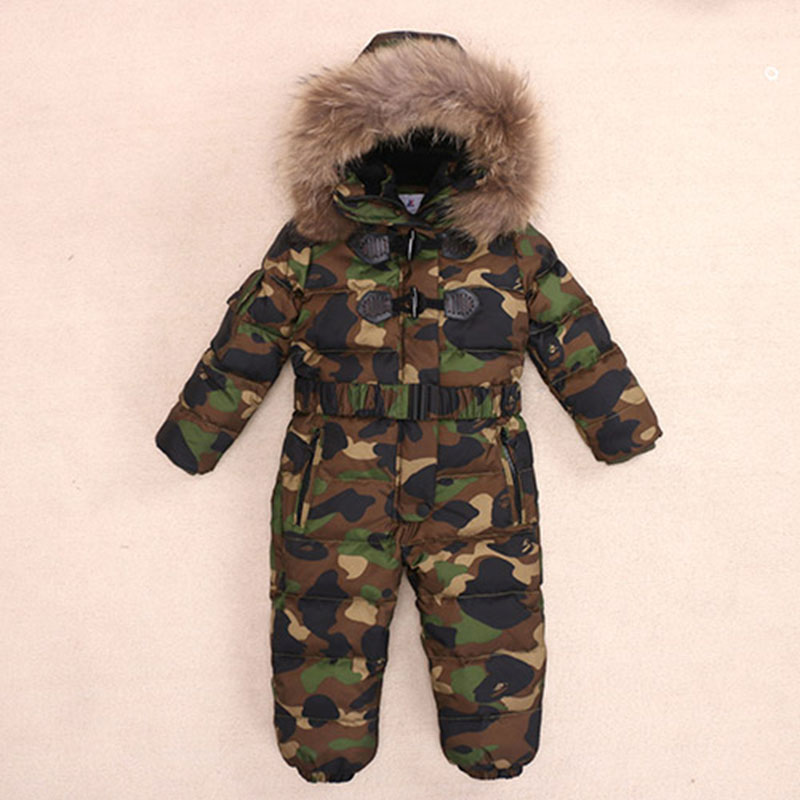 Russia -30 Degrees Girls and Boys Down Jacket Baby Rompers 2017 Winter Duck Down Jumpsuit Coats Kids Ski Suit