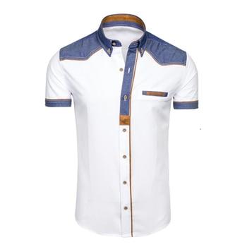 f9cd7bc2c0e ZOGAA marcas hombres camisa Casual ajustado Fit manga corta vestido camisas  elegante Casual moda blanco Vintage camisas para hombres ropa