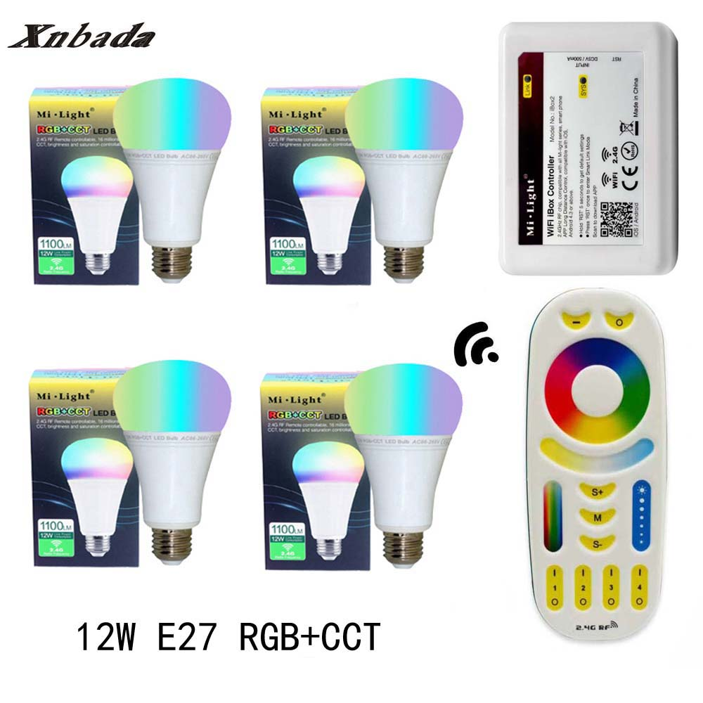 MiLight 12W Led Lamp E27 RGB+CCT Led Bulb+RGBWW Remote+IBX2 RF Remote WIFI Led Spotlight light Led light AC85-265V Free Shipping keyshare dual bulb night vision led light kit for remote control drones