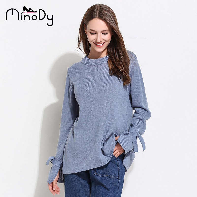 ac1ae74971b MINODY O-Neck Women Knitted Sweaters Loose Pullover Bow Full Fashion  Beautiful Solid Female Clothing
