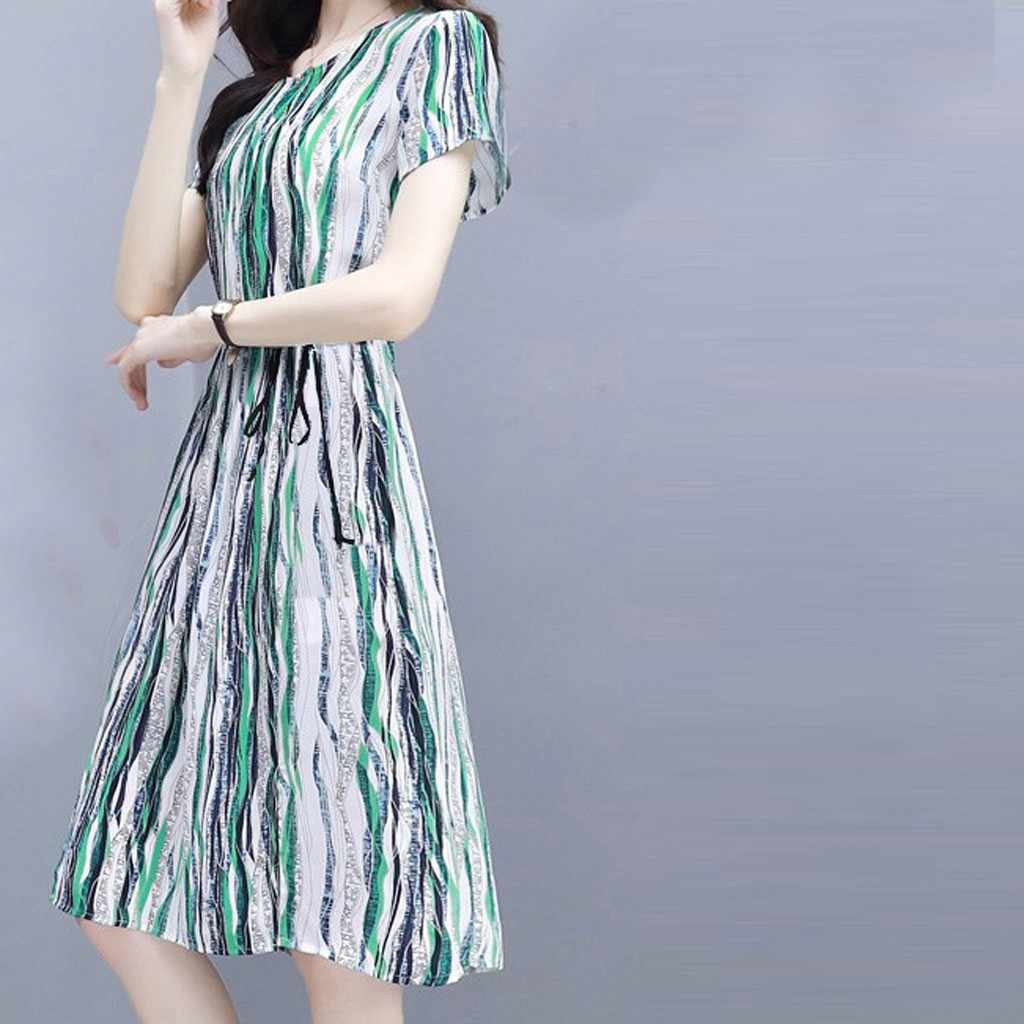 2019 Summer New Fashion women's Slim short-sleeved Printed Dress Outdoor Leisure Vacation Shopping Party Sexy Dresses Plu Size